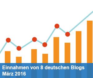 Traffic und Einnahmen von 8 deutschen Blogs im März 2016
